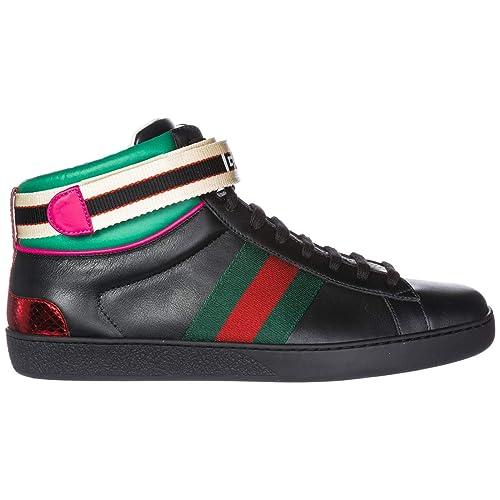 the best attitude ce524 5aad4 Gucci Scarpe Sneakers Alte Uomo in Pelle Nuove Ace Nero ...