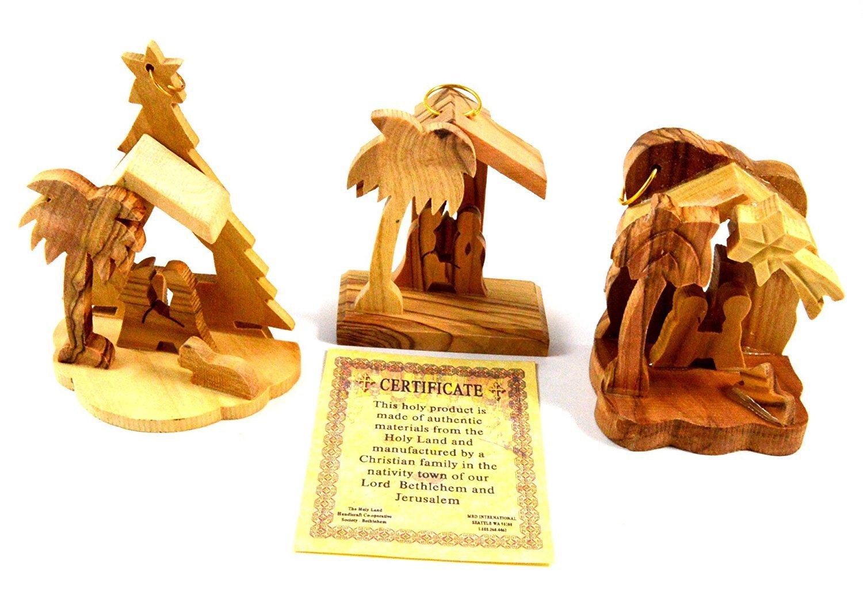 Bethlehem Olive Wood Christmas Nativity Ornaments set of 3 From Israel the Holy Land