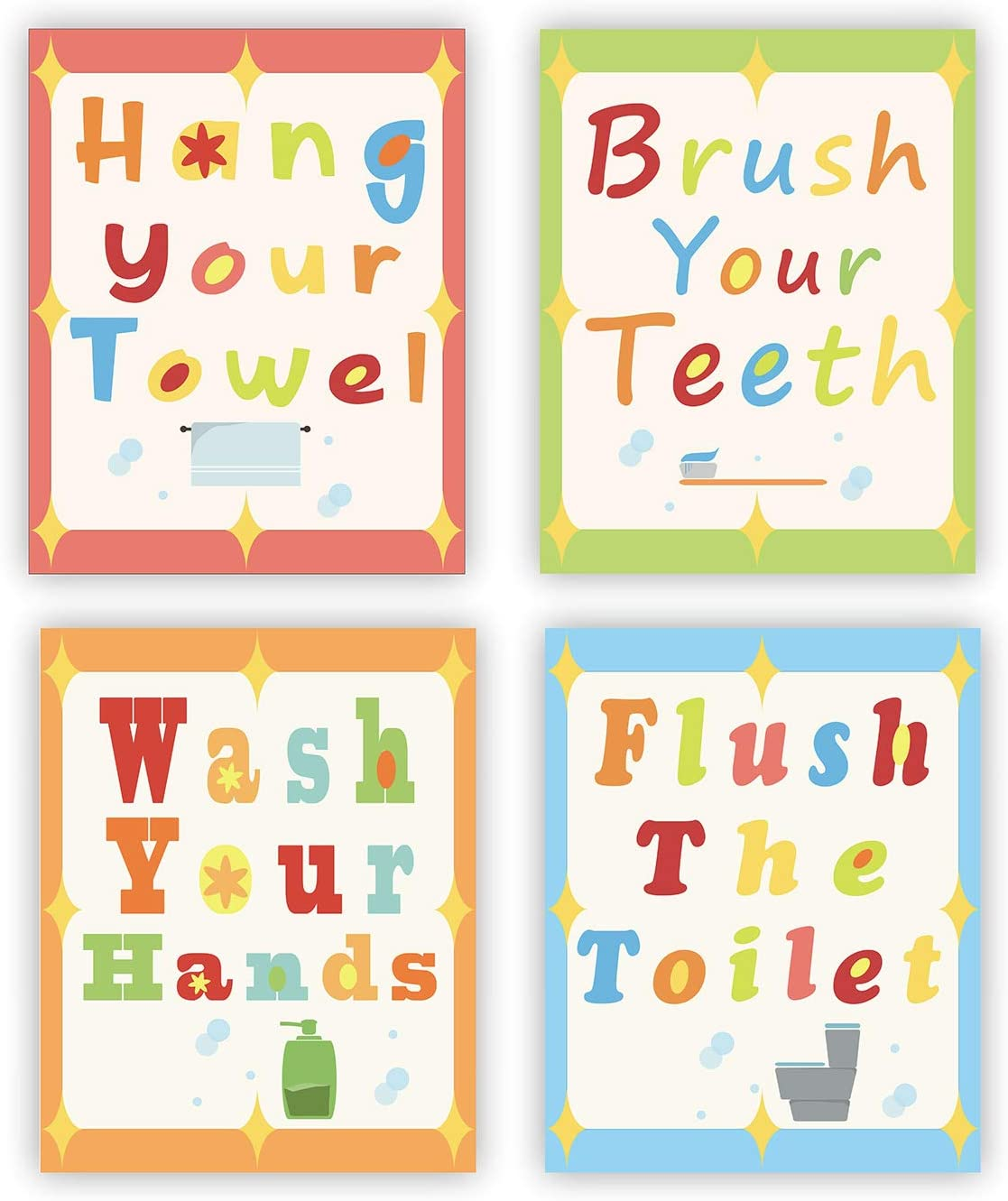 Funny Bathroom Wall Art Decor Posters Set of 4 Wash Brush Floss Flush Toilet Rules Sign Perfect for Baby Washroom Decoration (UNFRAMED)