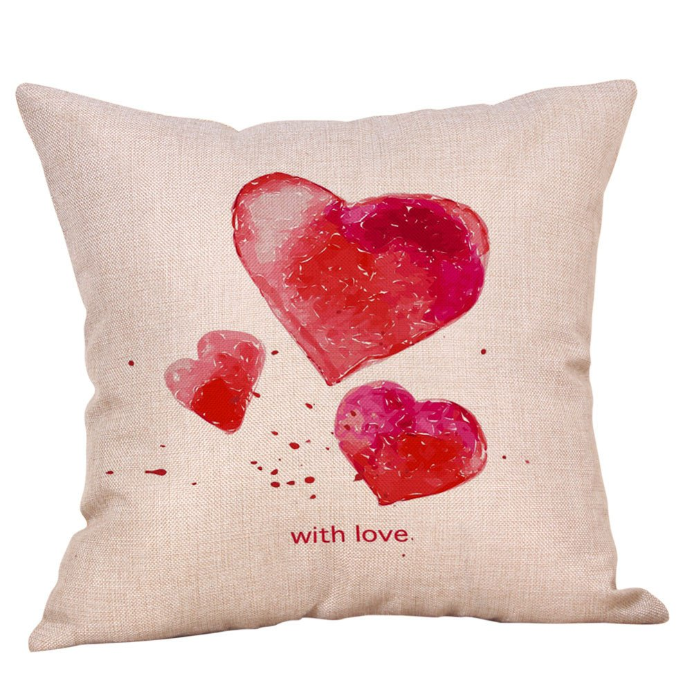 Mome 1PC Happy Valentines Cotton Linen Square Cushion Cover (E)