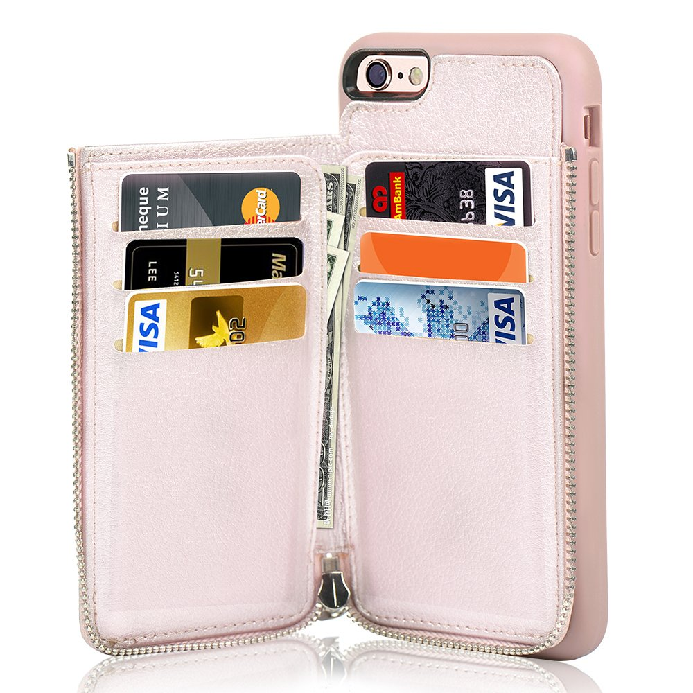 size 40 74400 30e66 LAMEEKU iPhone 6S Plus Wallet Case, iPhone 6 Plus Card Holder Case, Leather  Cases with Protective Credit Card Slot Zipper Pocket Wallet Back Flip for  ...