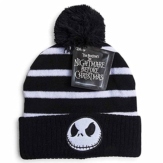 ca5412560f369 disney nightmare before christmas jack skellington striped beanie hat pom