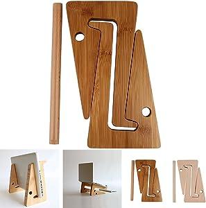 DEALPEAK DIY Assemble Bamboo Color Wooden Laptop Notebook PC Tablet Desktop Mount Stand Holder for MacBook Air or MacBook Pro