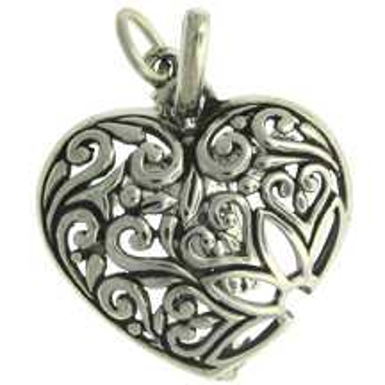 Sterling Silver Girls .8mm Box Chain Filigree Flower Decorative Heart Pendant Necklace