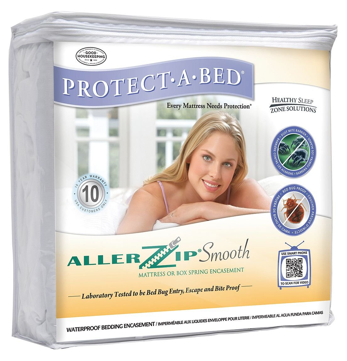 Protect-A-Bed - BOM1613 - Hotel King 100% Polyester Mattress Encasement with 13 Pocket Size, White