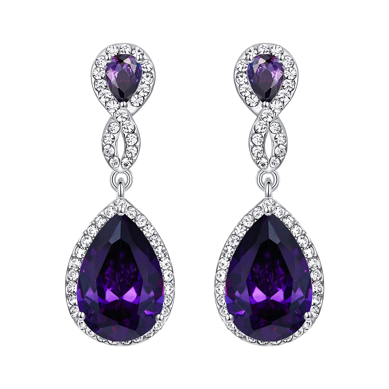 EVER FAITH Austrian Crystal Zircon Wedding 8-Shaped Pierced Dangle Earrings