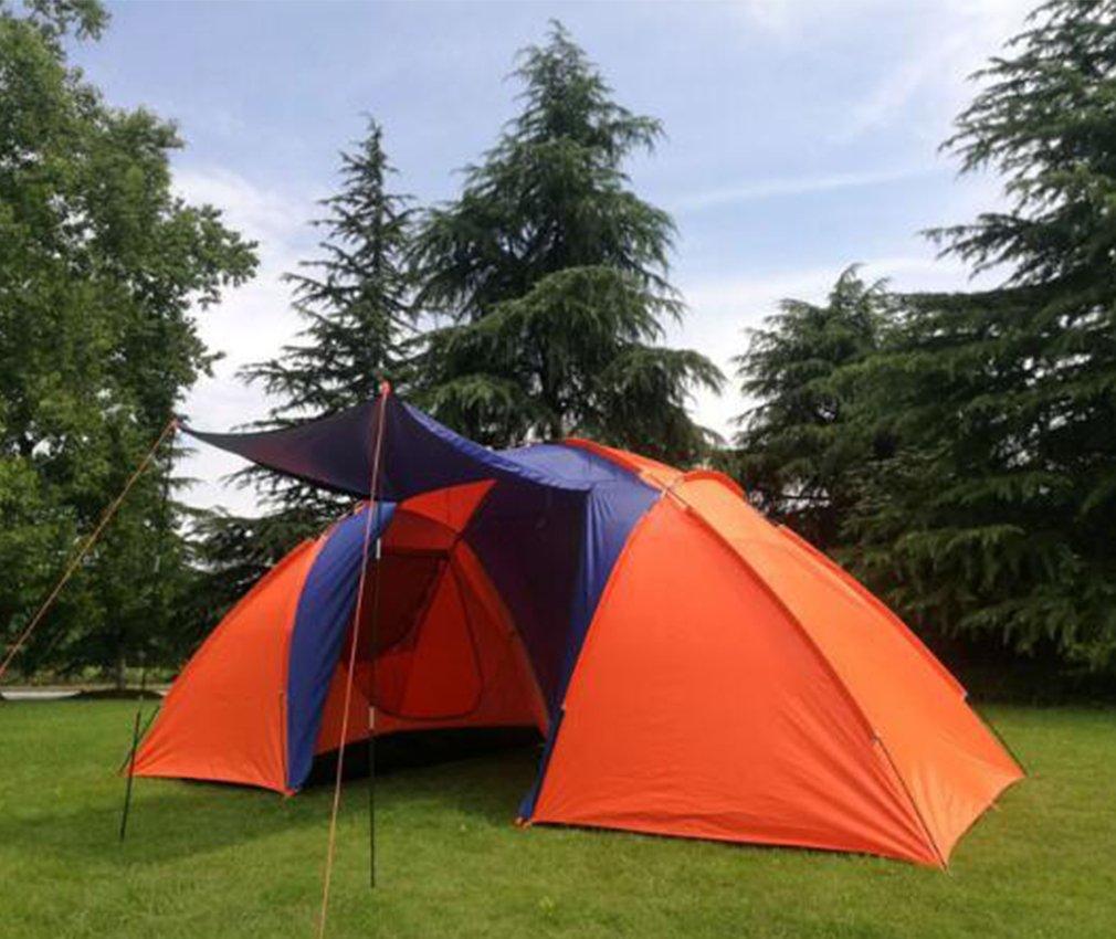 NINI Outdoor - Zelt (Double Layer 3 bis 6 Personen mit Zwei Schlafzimmern, Regenfeste Orange - Blauen Outdoor - Zelt