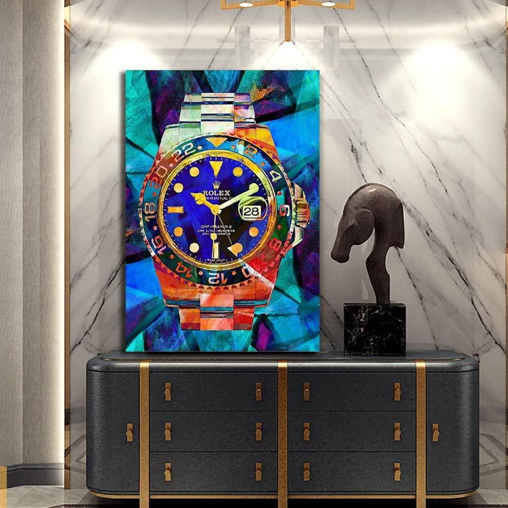 90cm Mode Peinture Toile Art Montres Pop Art Toile Hd Moderne Abstrait Art Print Affiche Bureau Chambre Mur Caf/é D/écoration 60