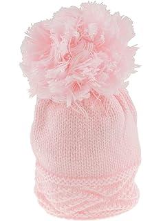 2fe32ddda27 Super Soft Baby Girls Boys Warm Winter Chunky Cable Knit Pom Baby Hat Pink  0-