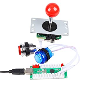 Fosiya 2 Player LED Arcade Joystick Buttons Kit for Arcade PC Game Controllers Mame Raspberry Pi Retro Controller (Red & Blue Kit) (Color: Red & Blue Kit)