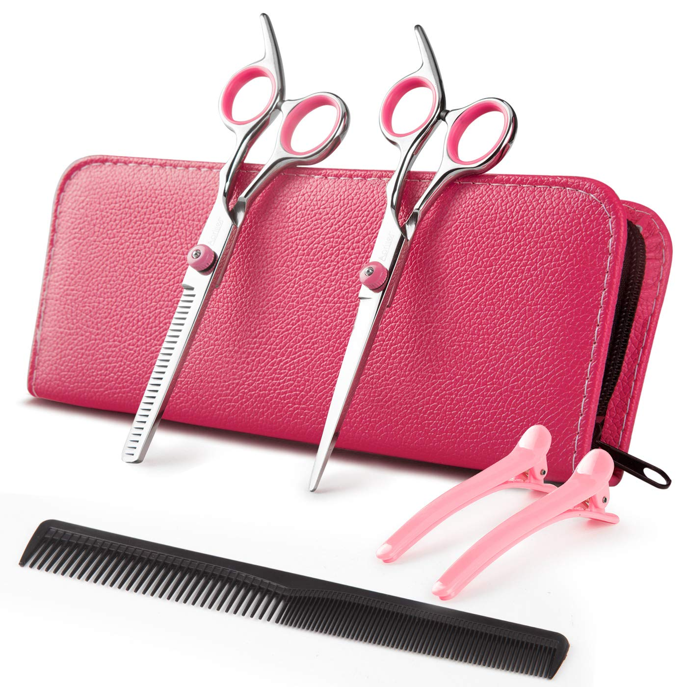 Hair Cutting Scissors, Professional Barber Hair Japanese Stainless Steel Thinning Texturing Shears Pink Sharp Hair Scissors Set by Apriller