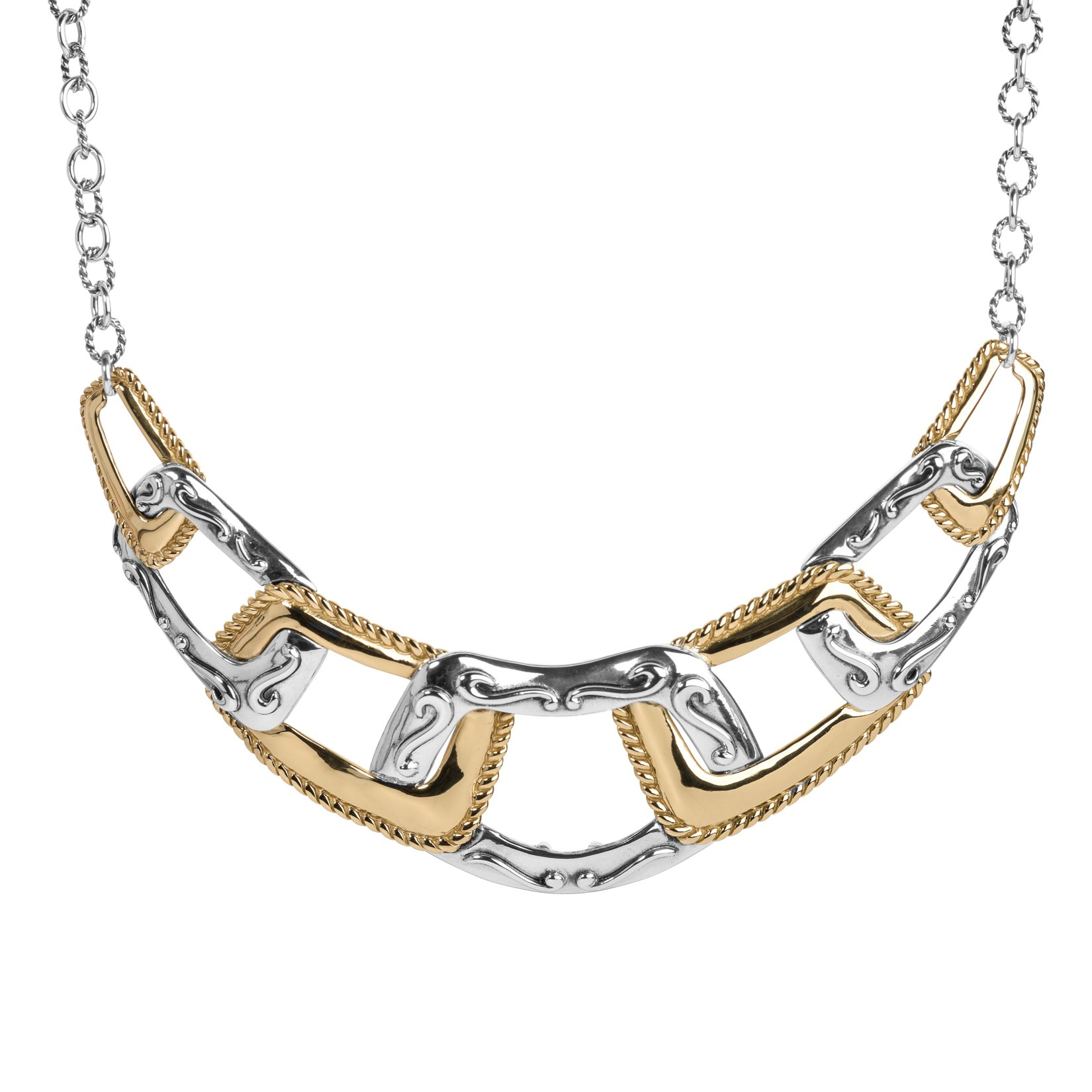 Carolyn Pollack Sterling Silver & Brass Statement 17 Inch Necklace