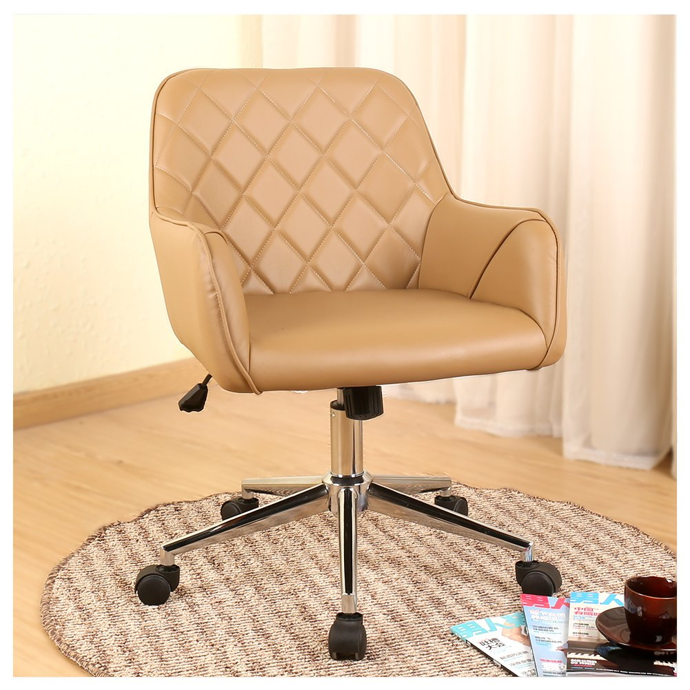Veigar Stylish Office Chair PU Leather Mid Back Executive Home Office Chair with Adjustable Height, Desk Chair Task Chair Swivel Chair (Brown)