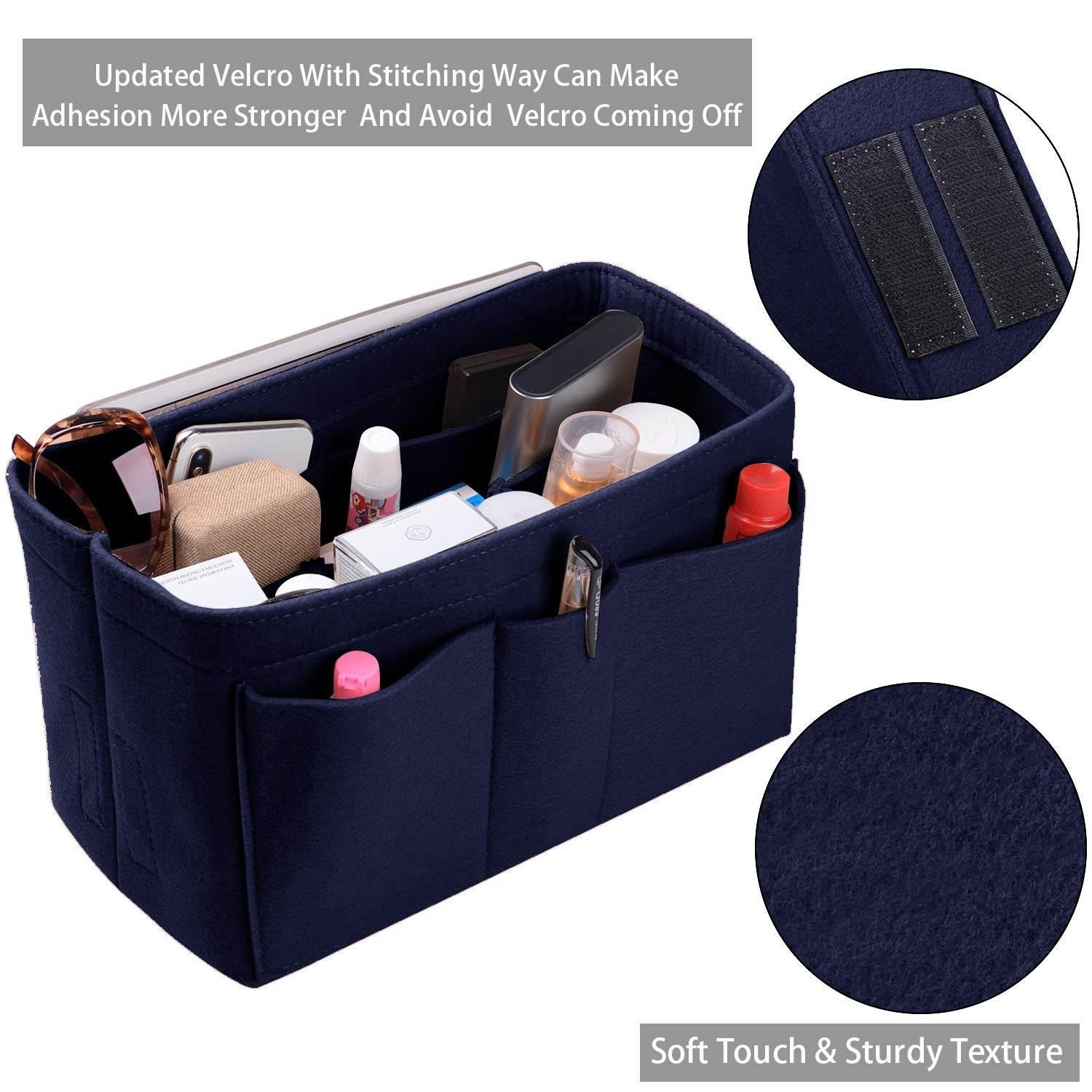 Purse Organizer Insert, Felt(3MM) Fabric Bag Organizer for LV Neverfull, LV Speedy, Purse Handbag Tote Bag, 3 Sizes, 8 Colors (large, Purplish Blue)