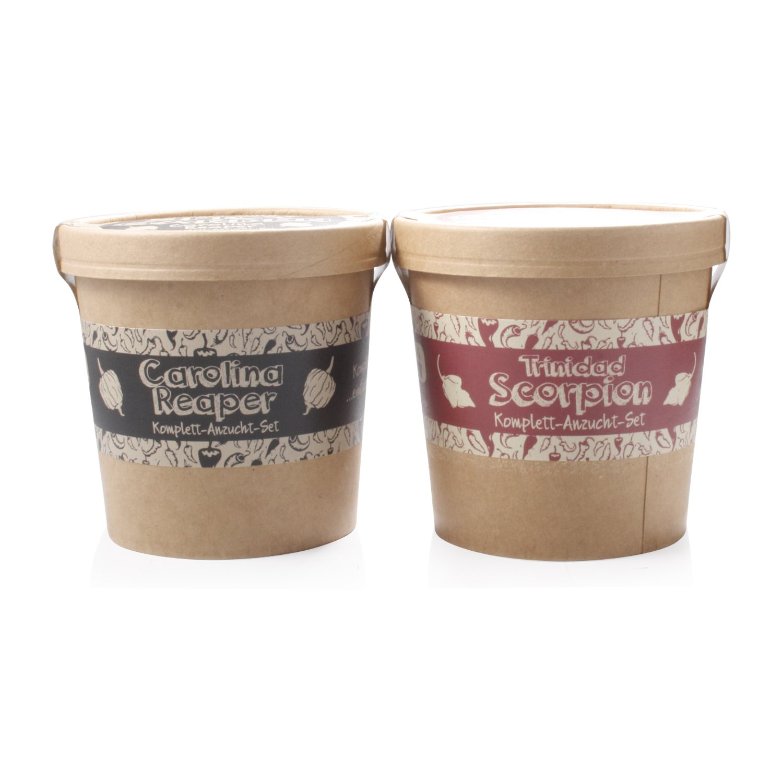 Spicy Garden Anzucht-Set mit Carolina Reaper und Trinidad Scorpion - Pflanzen-Kit - Einstieg in die Planzen-Zucht - ideal zum Verschenke PepperPark GmbH