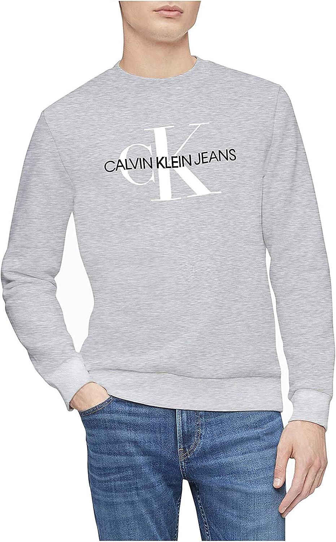 Calvin OFFicial store Klein Men's Monogram Neck 1 year warranty Crew Sweatshirt Logo