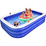 """Inflatable Swimming Pool for Kids, AirExpect 120""""x72""""x22"""" Full-Sized Family Swim & Ball Pool with Built-in Cup Holders…"""