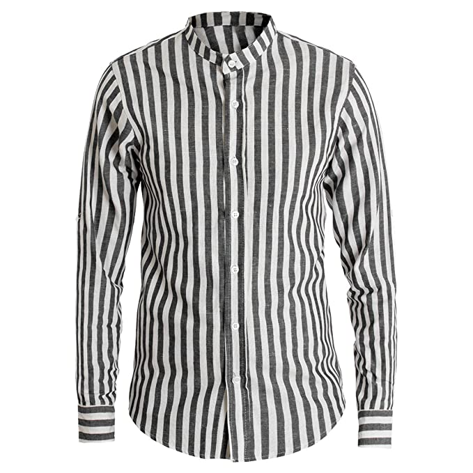 quality design f4ea5 9849e Giosal Camicia Uomo Lino Rigata Collo Coreano Bicolore Righe ...
