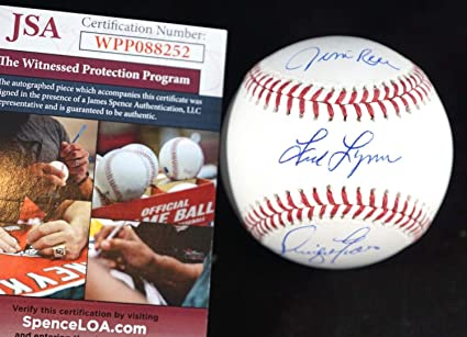 847af239b4d Jim Rice Fred Lynn Dwight Evans Red Sox Autographed Signed MLB ...