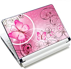 "Laptop Skin Sticker Decal,12"" 13"" 13.3"" 14"" 15"" 15.4"" 15.6"" Laptop Skin Sticker Protector Cover for Toshiba Hp Samsung Dell Apple Acer Leonovo Sony Asus Laptop Notebook (Pink Butterflies & Flowers)"