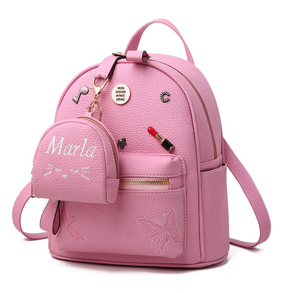 Amazon.com | Flada Girls Backpack PU Leather School Bags daypack Cute Bookbag Purse with Small Cat Wallet Pink | Kids Backpacks