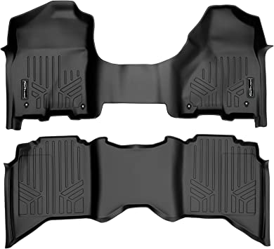 Both Rows 1pc SMARTLINER Custom Fit Floor Mats 2 Row Liner Set Black for 2019 Ram 1500 Crew Cab with First Row Bench Seat