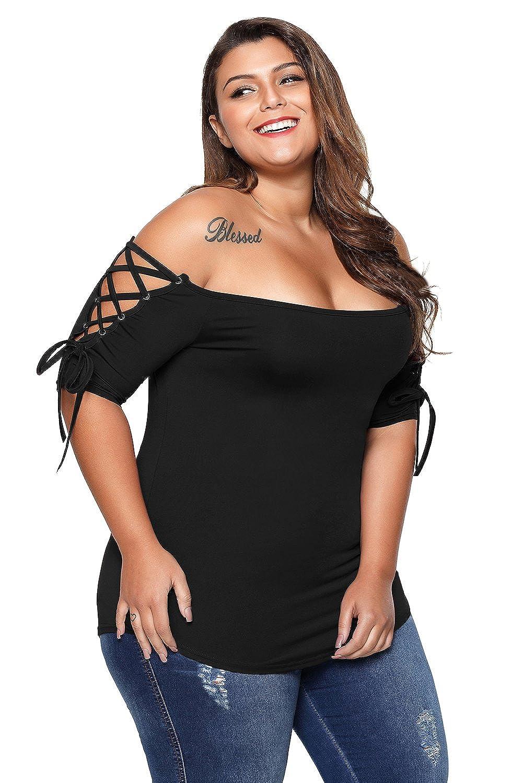 b2420d0a4f6e7 BaronHong Women Summer Plus Size Lace-up Off Shoulder Top T-Shirt at Amazon  Women s Clothing store