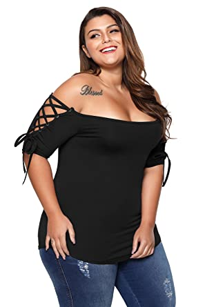 0163e977956 BaronHong Women Summer Plus Size Lace-up Off Shoulder Top T-Shirt at ...