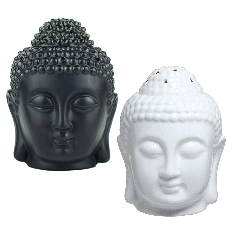 Moylor Buddha Head Statue Oil Burner Translucent Ceramic Aromatherapy Diffusers for and Home Decor (White & Black)