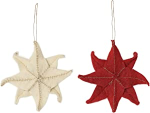 De Kulture Hand Made Felt Moravian Star Ornament (Set of 2) 5.5x5.5 (DH) for Home Decoration Party Decorative Office Decor Ideal for Christmas Decoration