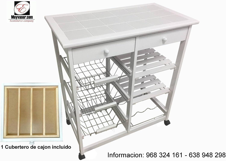 Mueble Gestion Verdulero Frutero Bahia 3 Blanco (1 Cubertero ...