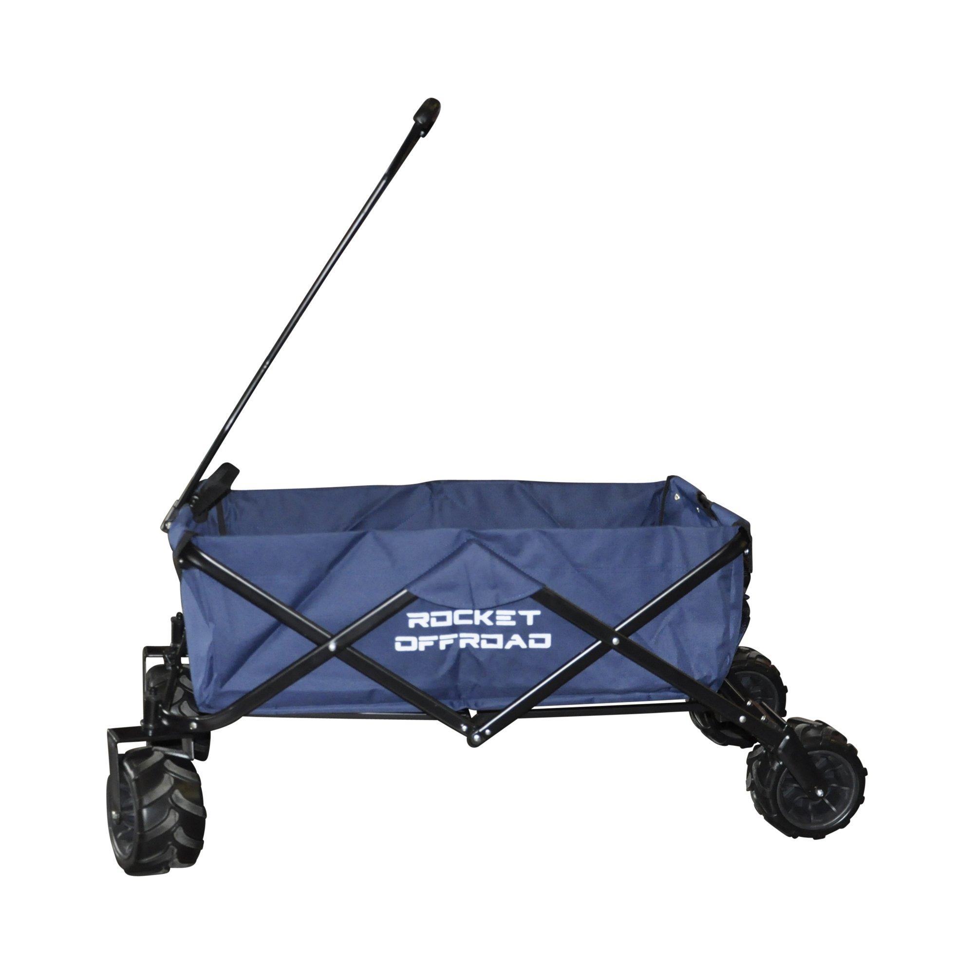 Rocket Offroad RO-UBW-BL All Terrain Collapsible Heavy Duty Folding Utility Wagon Outdoor Cart, Dark Blue