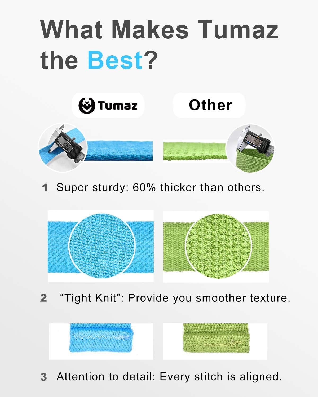 Texture D/élicate Durable et Confortable Tumaz Sangle de Yoga//Ceinture Yoga//Sangle d/'/Étirement avec Boucle D-Ring R/églable Extra S/ûre 15+ Couleurs,1,8//2,4//3 M/ètres