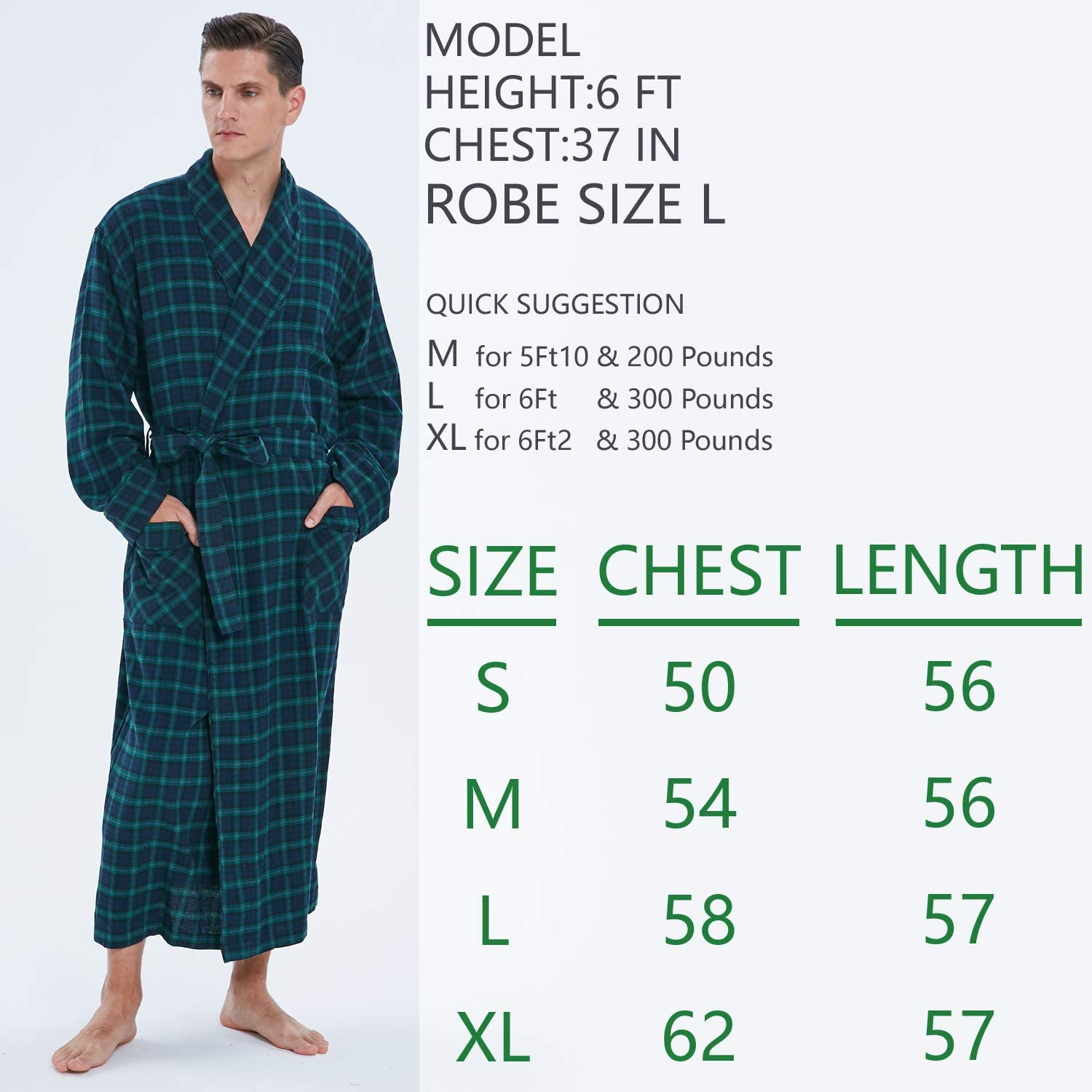 Men's 100% Cotton Dark Green Checked Bathrobe, never Fade, Plaid Absorbent Housecoat at  Men's Clothing store