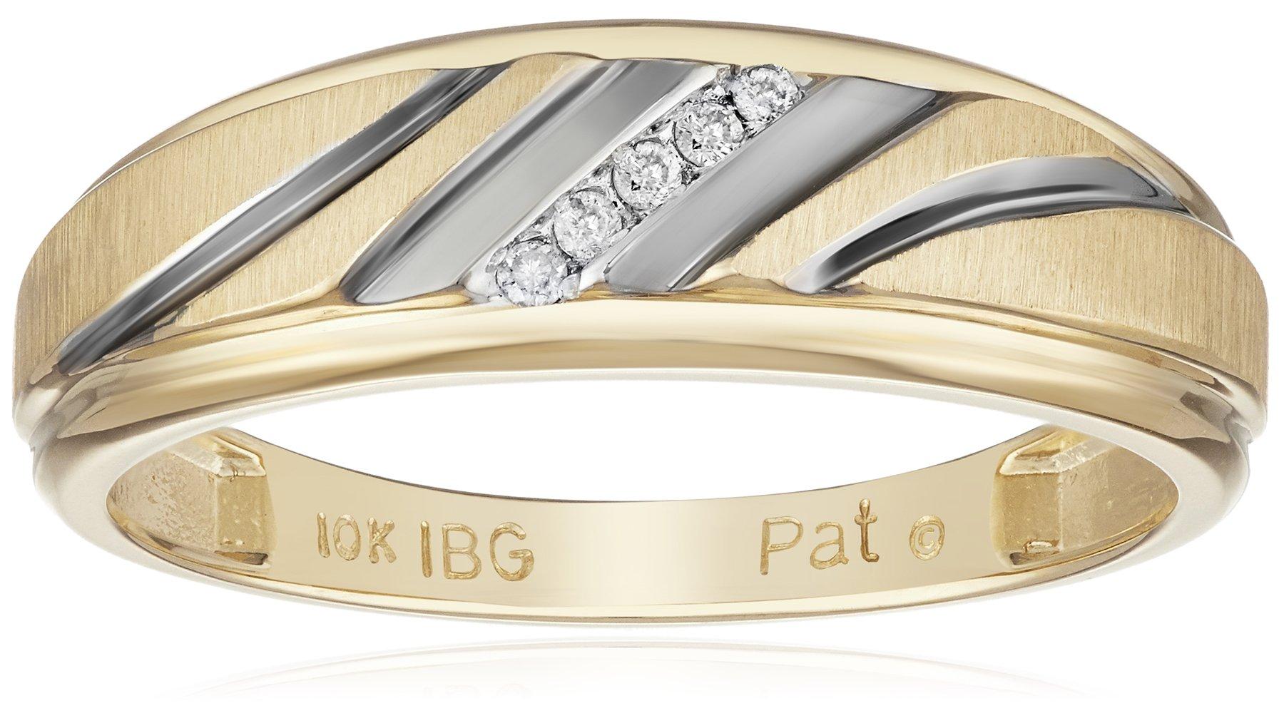 10k Yellow Gold Diamond Wedding Band, Size 9