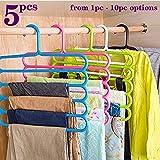 TONY STARK Closet Organizer Space Saving Plastic Multi-Functional Storage Wardrobe Clothes Organizer Hanger for Shirts, Pants, Skirts-32L x 1B x 33H cm (Multicolour, Set of 5)