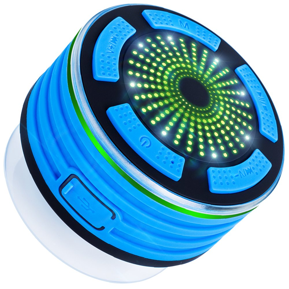 Bluetooth Shower Speaker with FM Radio, MAXIN Waterproof Wireless Portable Bluetooth V4.0 Speaker with Mp3 Player,Speakerphone and Multiple Color LED Light Functions F013