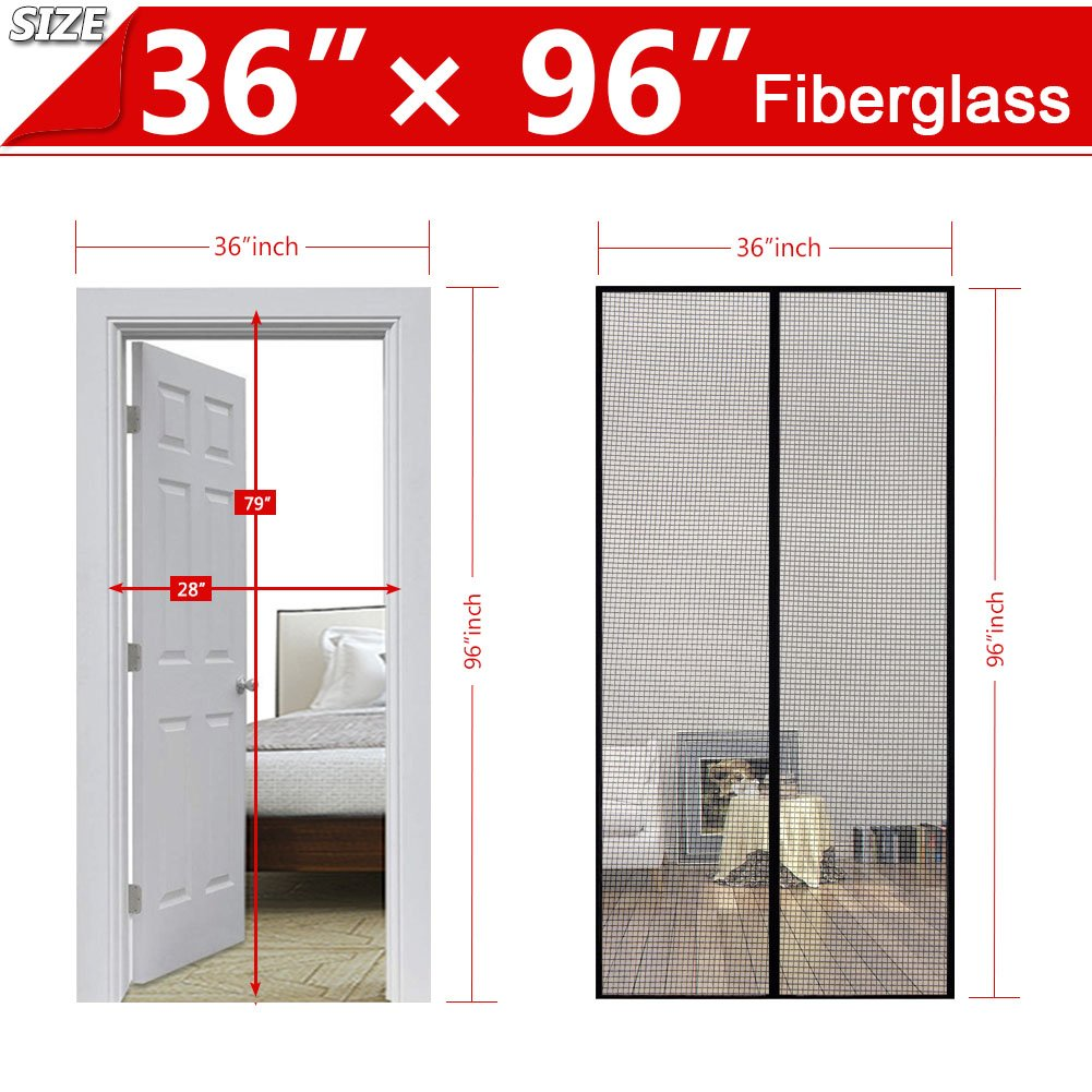 Magnetic Screen Door With Durable Fiberglass Mesh Heavy Duty Reinforced Magnets