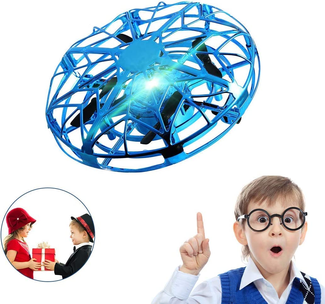 SUNFATT UFO Drone for Kids,Kids Drone Flying Toy Hand Controlled with LED Light 360° Rotating Helicopter for Boys Girls Family Indoor Interactive Game Gift.