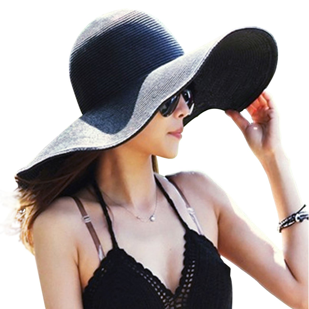 4167d31581d87f Womens Big Bowknot Straw Hat Floppy Foldable Roll up Beach Cap Sun Hat UPF  50+ at Amazon Women's Clothing store: