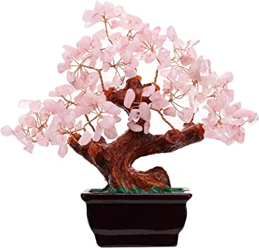 Amazon Com Feng Shui Natural Rose Pink Quartz Crystal Money Tree Bonsai Style Decoration For Wealth And Luck Kitchen Dining