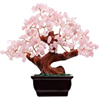 Feng Shui Natural Rose Quartz Crystal Money Tree Bonsai Style Decoration for Wealth and Luck