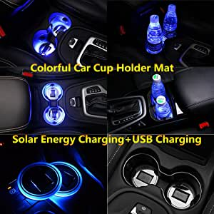 2pcs Solar Energy Car Logo LED accessory Cup Holder Pad Mat lamp Trim light Interior Decoration lamps for 2017 2016 2015 2014 2013 lincoln mkz mkc mkx mkt mks lights Circle Diameter: 2.80 Inch XINGYI