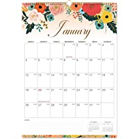 """2020 Calendar - Monthly Wall Calendar with Thick Paper, 12"""" x 16.6"""", Twin-Wire Binding with Hanging Hook, January 2020 - December 2020 with Julian Date - Floral"""