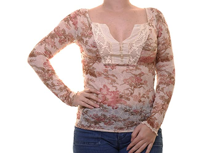 fdfba5b0743102 Image Unavailable. Image not available for. Color  Denim   Supply Ralph  Lauren Womens Lace Floral Print Henley Top ...
