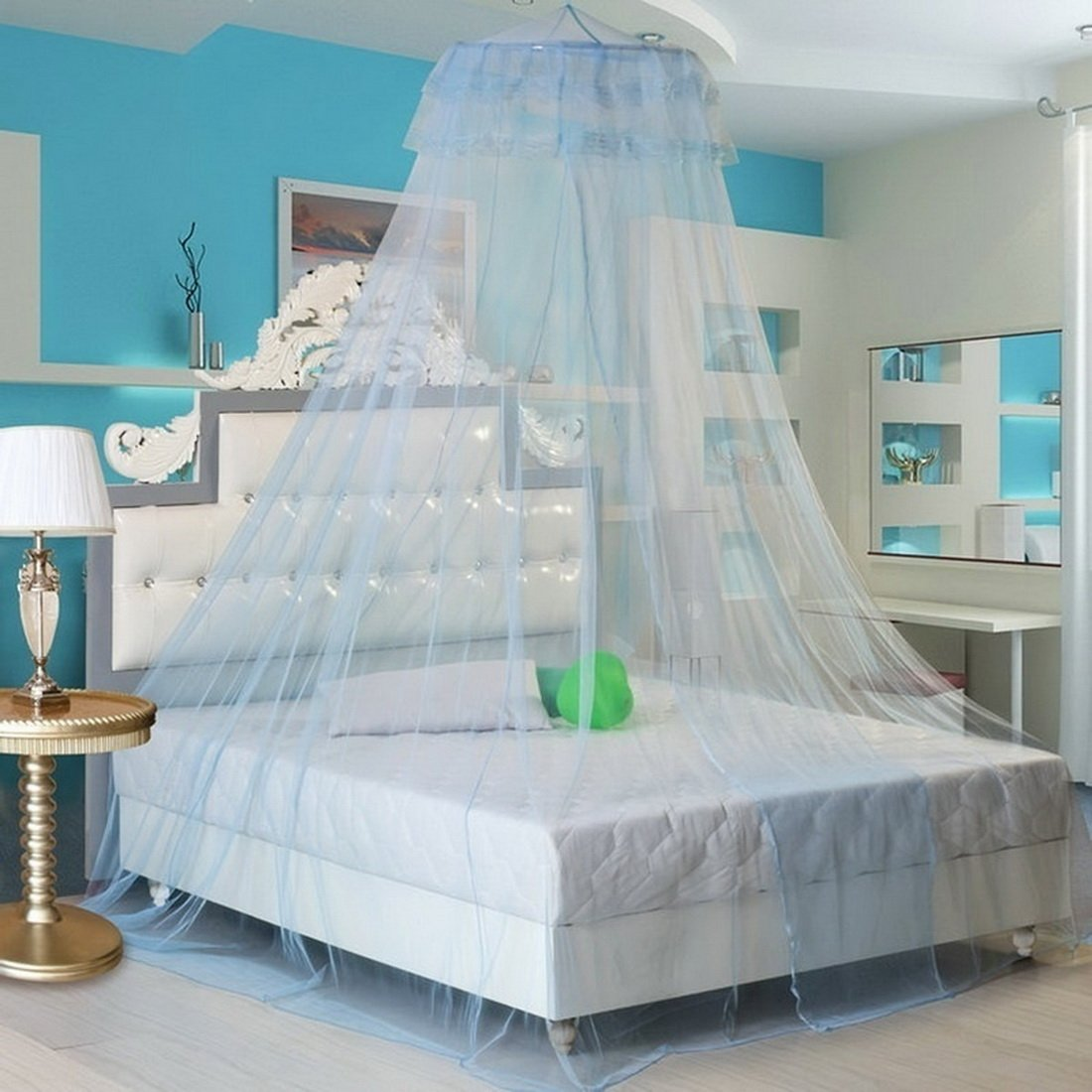 Hoomall Mesh Hanging Mosquito Net Tent Canopy Curtains Netting for King Queen Bed Light Blue Ourstory