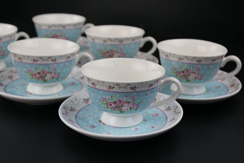 BLUE SET Shabby Chic Tea Set Floral Pink Blue Set 6 Cups Gift Set Retro Vintage Style