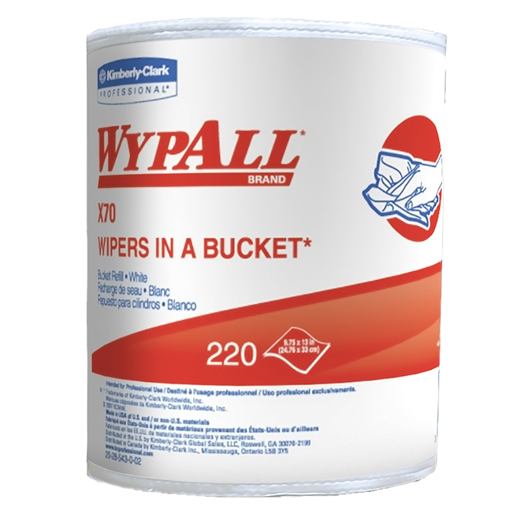 WypAll X70 Extended Use Reusable Cloths in a Bucket Refill (83571), Long Lasting Performance, White, 1 Bucket, 220 Cloths/Roll, 3 Rolls/Case