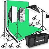 Neewer 2,6*3m SISTEMA DI SUPPORTO sfondo e da 1,8x 2,8m scenografia, 2400W 5500K kit di illuminazione per Fotografia Video Studio di registrazione