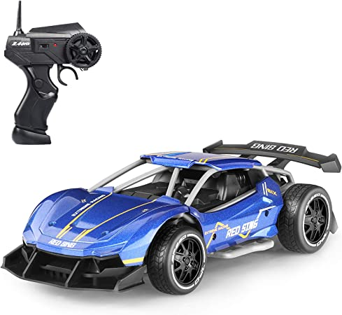 Vbepos Alloy Remote Control Car Toys for Boys and Girls Best Gifts, 2.4Ghz RC Trucks High Speed Electric Vehicle Sports Racing Hobby Toy Car for Kids & Adults, Blue